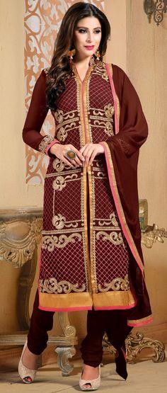 USD 36.06 Maroon georgette Churidar Suit 42764