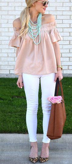 ruffled off shoulder rose pink top.