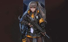 Download wallpapers Girls Frontline, Japanese anime game, girl with a gun, protective suit