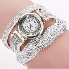 48b0f367572 CCQ 2016 New Fashion Casual Quartz Women Rhinestone Watch Braided Leather  Bracelet Watch Gift Relogio Feminino