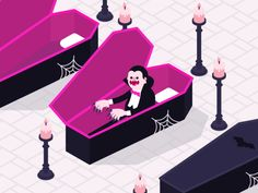 "HALLOWEEN GIF: '""Dracula"" by James Curran on Oct. 31, 2017. Happy Halloween! Part of a series of loops I recently made for Lyft.'                NOTE: PRESS ""READ IT"" TO SEE 4 MORE GIFS FROM THIS CREATOR.                 NTS: I pinned all 4 of the GIFs in the ""Read It"" section of this pin."