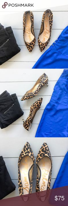 Sam Edelman heels Gorgeous Sam Edelman real cheetah print dyed calf fur pointy toe heels. Low 1.5 inch heel. Size 8.5. In like new condition! Gorgeous! Only signs of wear are on the soles from wearing a couple times. These go with everything!! Sam Edelman Shoes Heels