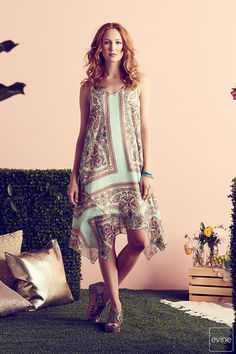 5f088a8425f61 One World Printed Knit   Woven Sleeveless 4-Point Hem Trapeze Dress on sale  at evine.com