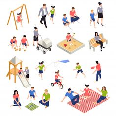 Stock Vector: Family playing isometric icons set with parents and children isolated vector illustration People Illustration, Flat Illustration, Illustrations, Icon Set, Render People, Planer Layout, People Cutout, Architecture People, Stock Image