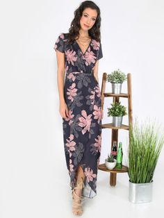 Multicolor Print Tie Waist Split Maxi Dress -SheIn(Sheinside)