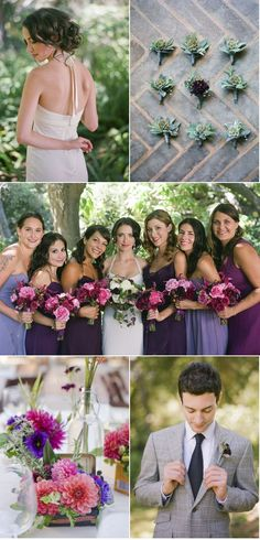 Bridesmaids dresses in different bold shades of purple add variety and excitement!