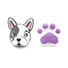 Adorable Boston Terrier Puppy Dog Face and Paw Shaped Stud Earrings in Purple | DOTOLY