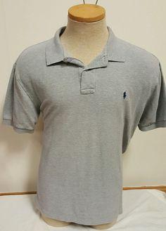 Polo by Ralph Lauren Men's Polo Shirt Short Sleeve Gray Blue Pony Size Large L | eBay