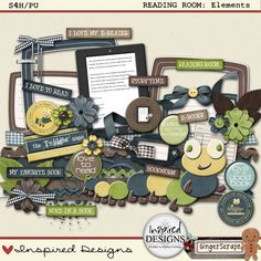 Included in this element pack are: 1 bookplate, 1 bookplate paper, 1 set of books (blank), 1 set of books (with titles), 1 bookworm, 2 bows, 3 brads, 4 buttons, 1 e-reader (with print on screen), 1 e-reader (blank), 6 flowers, 2 frames, 2 journal tags, 2 leafs, 1 library card, 1 paperclip, 1 quote (with & without shadow), 4 ribbon, 3 ricrac, 3 stackers, 1 staple, 2 starbursts, 1 stitches, 1 string, 1 swirl, 8 wordtabs.
