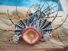 """CYNTHIA CHUANG Jewelry 10 Porcelain """"LION FISH"""" Large Pin Signed $240.00 Signed #Jewelry10"""