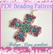 Beading pattern Boleyn Cross pendant - via @Craftsy