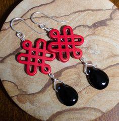 Earrings Black Onyx Red Celtic Knot Elegant by LindyLeeTreasures #Christmas #Gifts #Pearls
