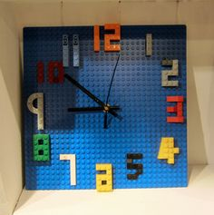lego clock - Google Search Lego Craft, Minecraft Crafts, Lego For Kids, Diy For Kids, Lego Projects, Projects For Kids, Lego Room Decor, Lego Table Ikea, Lego Party Games