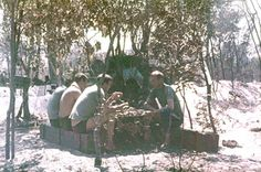 Soviet officers chow down during The Battle of Cuito Cuanavale. Eating was done during lulls in the fighting. Photo taken sometime during 1987.
