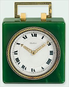 In its own modest line, an Art Deco travel clock of spinach-green jade, its dial framed by a gold chain motif set off by black enamel, provided evidence of the private buyers' sunny disposition, as it brought $14,260, substantially more than the high estimate.
