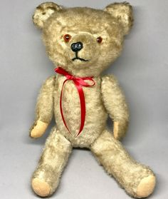 Vintage #StickTeddy Bear Tipped Artsilk Plush Rod Jointed 16in 40cm Excelsior #Unbranded #AllOccasion