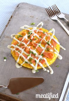 Smoked Salmon Frittata topped with Green Onion Sauce from #whole30