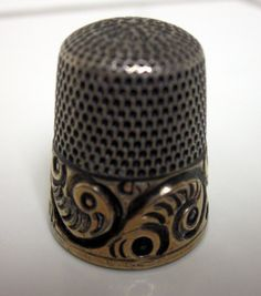 Simon Brothers Scroll & Feather Sterling & Gold 1898 Size 10