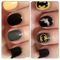 Using Topshop nail art pens in black and yellow, Claire's nail varnishes in dark grey and black