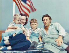 Robert Mitchum with wife Dorothy, and sons Christopher and James.