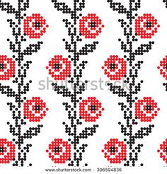 Vector seamless pattern with rose flowers. Traditional elements of Ukrainian…