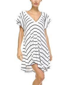 Love this Black & White Stripe V-Neck Handkerchief Dress - Plus on #zulily! #zulilyfinds