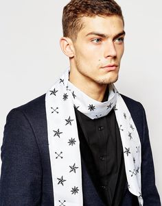 Image 1 of ASOS Dress Scarf In Cream With Black Star Print