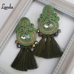 Soutache Necklace, Tassel Earrings, Drop Earrings, Beaded Embroidery, Boho Jewelry, Tassels, Jewels, Beads, Fashion