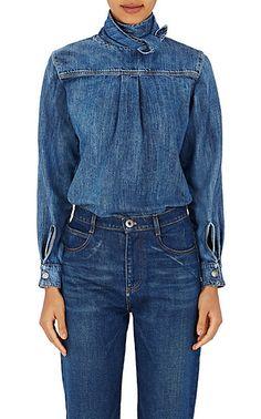 We Adore: The Denim Tieneck Blouse from Chloé at Barneys New York Denim Blouse, Denim Top, Denim Outfit, Denim Shirt, Fashion Jeans, Estilo Jeans, Looks Jeans, Denim Ideas, Double Denim
