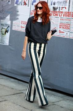 28 Ways to Dress Up with Vertical Striped Wide Leg Pants #Outfit  https://seasonoutfit.com/2018/01/14/28-ways-to-dress-up-with-vertical-striped-wide-leg-pants/