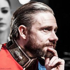 "My favorite bit in Richard III is when Lady Anne calls Richard a ""hedgehog"" (Act I, Scene II: ""Dost grant me, hedgehog?"") I hope Martin remembers the Sherlock fandom every night that line is said."