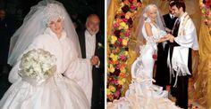 18 famosas y sus vestidos de novia nada común