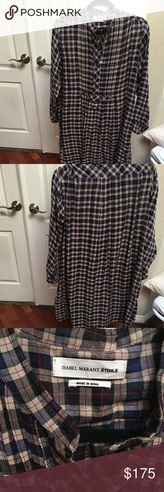 """ISABEL MARANT ETOILE OVERSIZED PLAID DRESS Oversized cotton flannel """"shift""""dress. Simplicity and comfort in style. Plaid very on point for the season but it is also such a timeless classic dress. Perfect for fall and materials are so soft yet lightweight. Easy to layer with vests, sweaters, or jackets.  Looks great with booties, tall boots or even oxfords . 38 inches in length so a good all over length . Size 38 but feels more like medium. Measures 20 inches wide under armpit . Blue and…"""