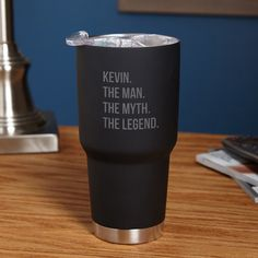 The Man The Myth The Legend Personalized Travel Mug - Black ($40) ❤ liked on Polyvore featuring home, kitchen & dining, drinkware, black drinkware, personalized travel mugs, birthday mugs, stainless travel mug and stainless steel mug