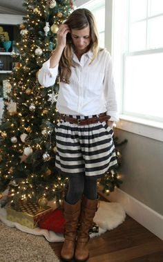 white oxford, striped skirt, grey cable knit tights, brown boots