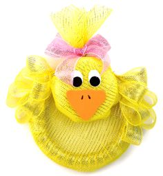Nicole™ Crafts Deco Mesh Chick Wreath #easter #craft #decomesh #wreath