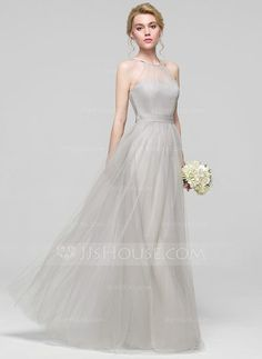 [US$ 94.19] A-Line/Princess Scoop Neck Floor-Length Tulle Bridesmaid Dress With Ruffle Bow(s) (007090171)