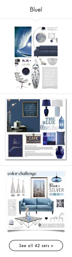 """""""Blue!"""" by rochelle-rocks ❤ liked on Polyvore featuring interior, interiors, interior design, home, home decor, interior decorating, GoPro, Royal Copenhagen, NeXtime and colorchallenge"""