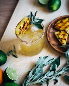 charred pineapple margarita with sage - Ananas Cocktail Pineapple Sage, Pineapple Margarita, Pineapple Juice, Lime Juice, Cocktail Drinks, Cocktail Recipes, Mezcal Cocktails, Tequila Drinks, Sweet Cocktails