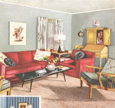 Living Room Mid Century Decor 1950s House Interior Design Furniture Furnishings Vintage