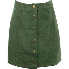 Pilot Faux Suede Front Button Mini Skirt (57 CAD) ❤ liked on Polyvore featuring skirts, mini skirts, bottoms, khaki green, green skirt, short khaki skirt, khaki skirt, faux suede skirt and green mini skirt