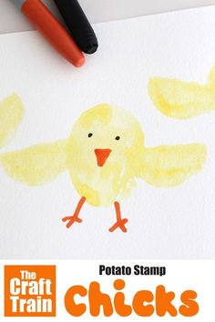 Make cute and easy potato stamp chicks with this simple art idea for kids. Press your potato into the DIY stamp pad to make the chick shapes and then decorate with sharpies. This is a fun Easter art idea which also makes great gift cards and wrapping paper #kidsart #easter #stamping #chick #chickcraft #kidscrafts #spring #springcraft #animalcraft #babyanimals