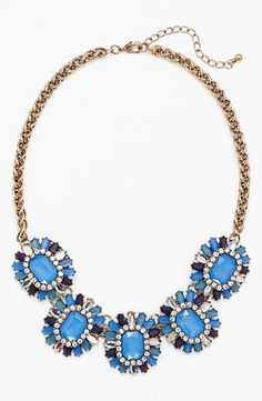 Stunning, Blue Floral Stone Necklace
