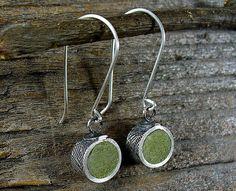 Fine silver and concrete earrings by lulubugjewelry, via Flickr