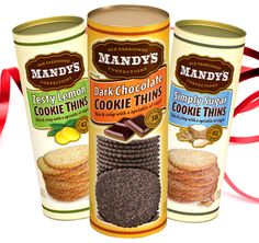 Mandy's cookies are 100% natural. We have dark chocolate, zesty lemon and classic sugar. The perfect complement to coffee, hot cocoa or ice cream. They are tastefully packaged and double foil-wrapped to preserve freshness and flavor. 16 calories each make these a guilt-FREE pleasure.