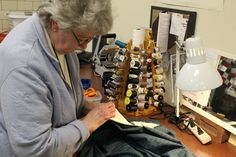 Mending and sewing clothing for the 2013 Greenfield Village season.