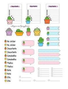 Planner Stickers - Better Handle Your Time By Using These Tips Bullet Journal Banner, Bullet Journal Writing, Bullet Journal School, Bullet Journal Ideas Pages, Bullet Journal Inspiration, Stickers Kawaii, Cute Stickers, Cactus Stickers, Journal Stickers