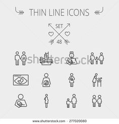 Medicine thin line icon set for web and mobile. Set includes- sick person, pregnant, wife and husband, ultrasound, baby, nurse, family, siblings icons. Modern minimalistic flat design. Vector dark
