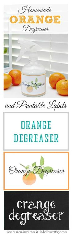 Make your own simple Orange Degreaser cleaner (includes free printable labels) foxhollowcotttage.com