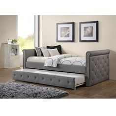 Shop for Baxton Studio Aisopos Modern and Contemporary Grey Fabric Tufted Twin Size Daybed with Roll-out Trundle Guest Bed. Get free delivery at Overstock - Your Online Furniture Outlet Store! Get in rewards with Club O! Bedroom Furniture Stores, Furniture Deals, Bedroom Decor, Furniture Outlet, Online Furniture, Bedroom Ideas, Master Bedroom, Wood Bedroom, Blue Bedroom
